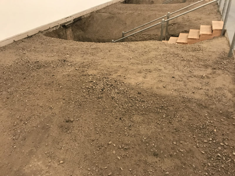 Chris Burden – Exposing the Foundation of the Museum, 1986/2019, three excavations of earth, installation view, MOCA, Los Angeles, 2019