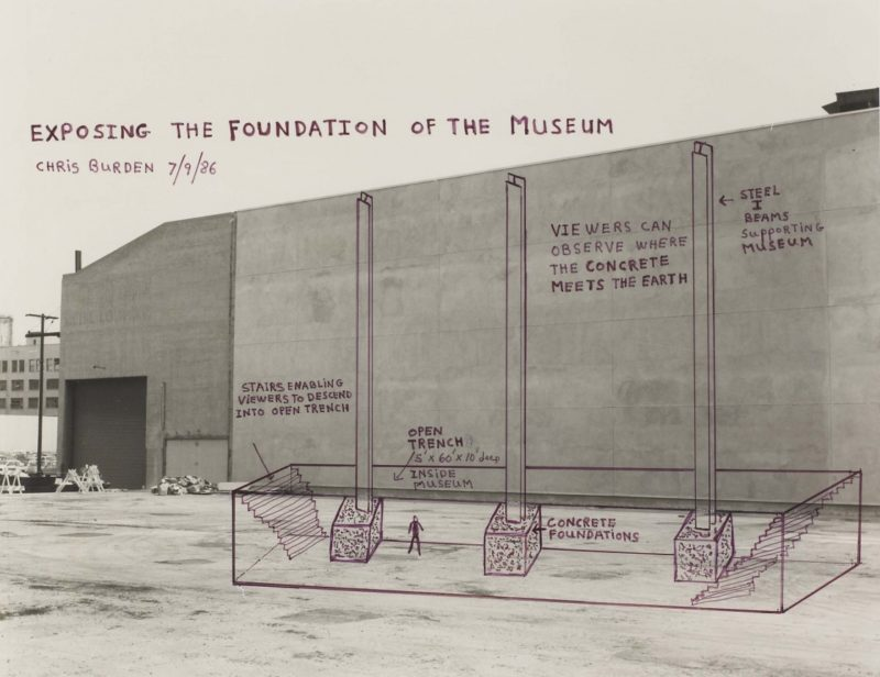 Chris Burden - Exposing the Foundation of the Museum, 1986, Marker on black and white photograph, Collection of The Museum of Contemporary Art, Los Angeles