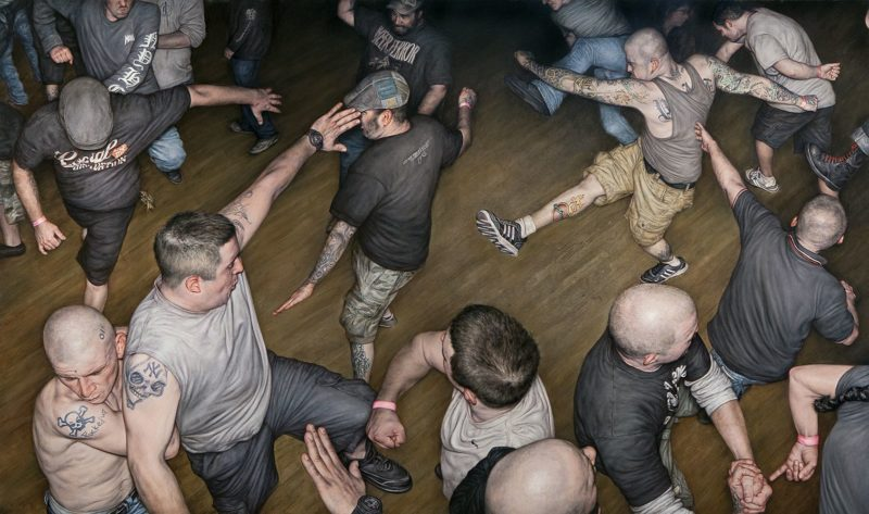 Dan Witz - Agnostic Front Circle Pit, 2014, oil on canvas, 48 x 82