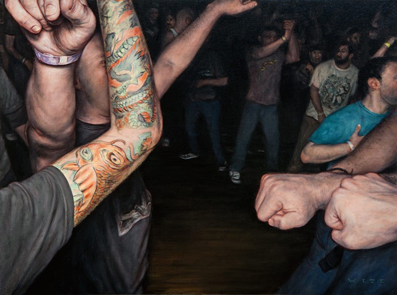 Dan Witz - Agnostic Front Crowd Study, 2014, oil on canvas, 15 x 20 in
