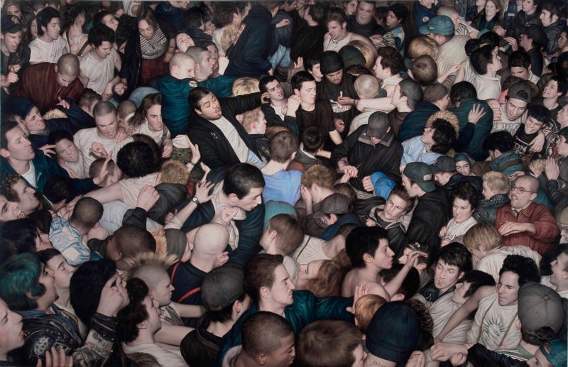 Dan Witz - Big Mosh Pit, 2007, oil and mixed media on canvas, 46 x 70 in