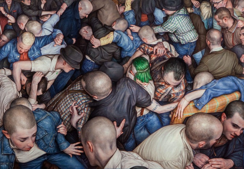 Dan Witz - Byronesque 3, 2015, oil on canvas, 49 x 71 in with frame