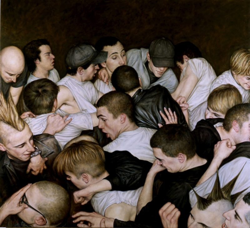 Dan Witz - Mosh Pit, 2000, oil on canvas, 48 x 46 in