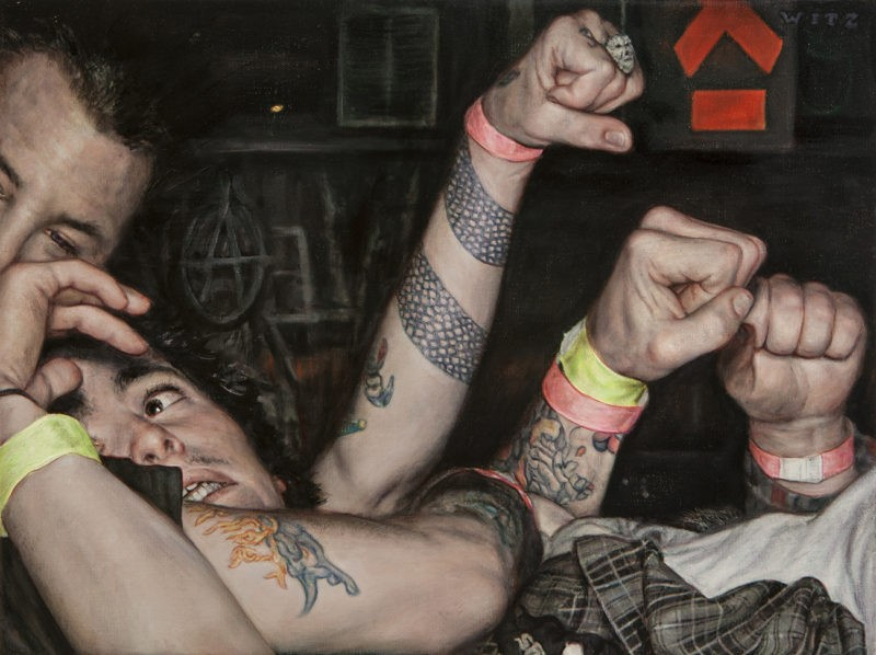 Dan Witz - Mosh Pit Study Anarchy, 2014, oil on canvas, 15 x 20 in (38.1 x 50.8 cm)