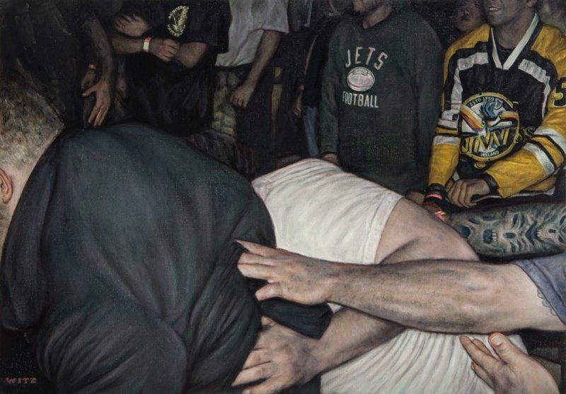 Dan Witz - Mosh Pit Study Jets, 2014, oil on canvas, 14 x 20 in (35.56 x 50.8 cm)