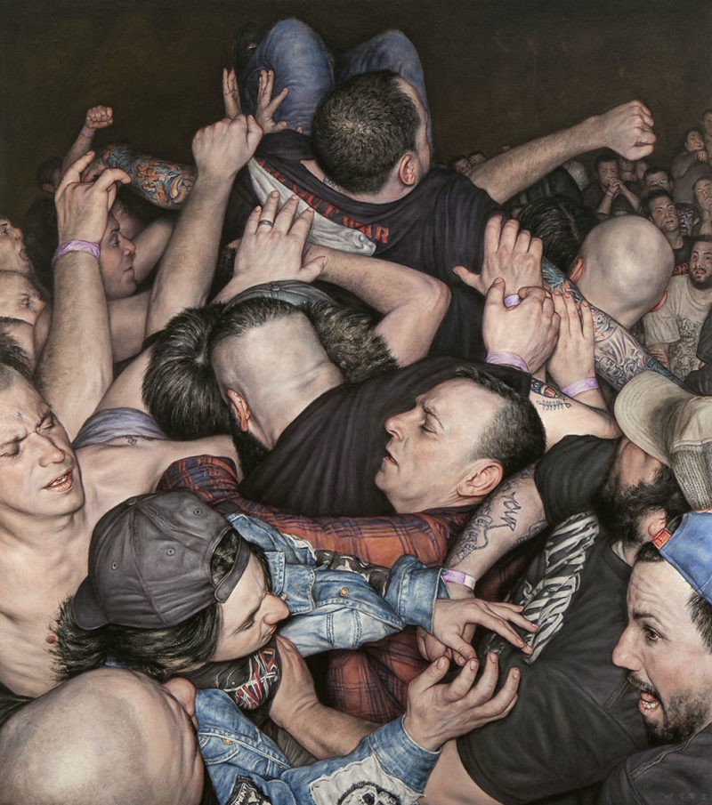 Dan Witz - Scrum 2 (All Out War), 2015, oil on canvas, 49 x 43 in with frame