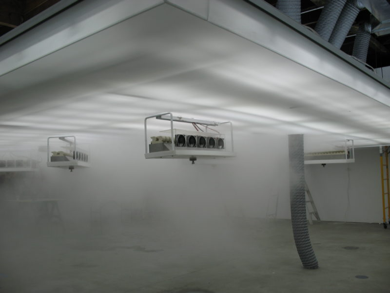 Installation of Antony Gormley - Blind Light II, 2007, fluorescent light, water, ultrasonic humidifiers, toughened low iron glass, aluminium, 320 x 858 x 858 cm, Sean Kelly Gallery, New York, USA, 2007