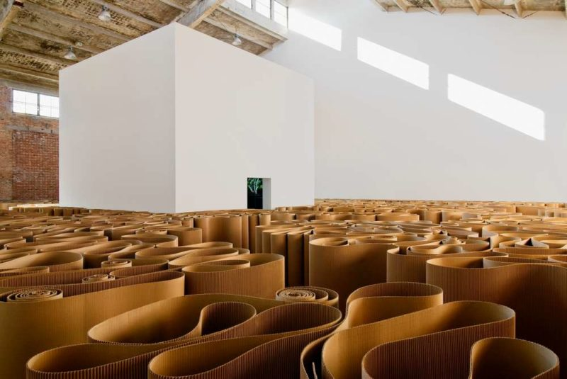 Michelangelo Pistoletto - The Labyrinth, 1969-2007, corrugated cardboard, 2100 meters of cardboard, installation view, Galleria Continua, Beijing, 2008