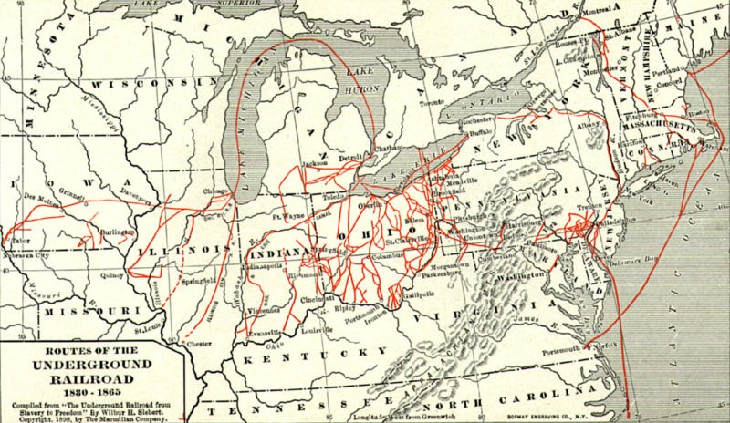 Routes of the Underground Railroad, 1830-1865