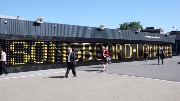 Song Board, 2012, interactive installation, 2 x 35 m, King's Cross Station, London