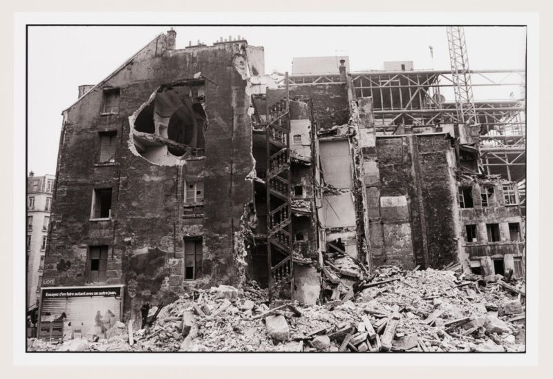 View of Gordon Matta-Clark's Conical Intersect being demolished, Paris, October, 1975