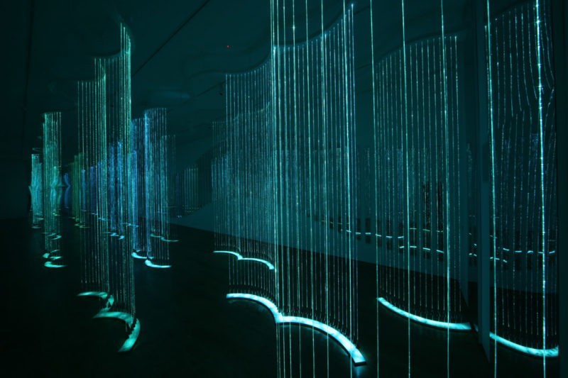 Bruce Munro - Cantus Arcticus, 2013, optical fibre, stainless steel, light source, audio/visual, installation view, Waddesdon Manor, Buckinghamshire, UK 2013.