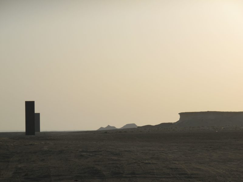 Richard Serra – East-West/West-East, 2014, four steel plates, 10 cm thick, between 14.7 and 16.7 m tall, Brouq Nature Reserve, Qatar