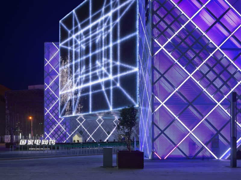 Atelier Brückner - Magic Box, State Grid Pavilion, Expo Shanghai 2010, Exterior View Night – Detail