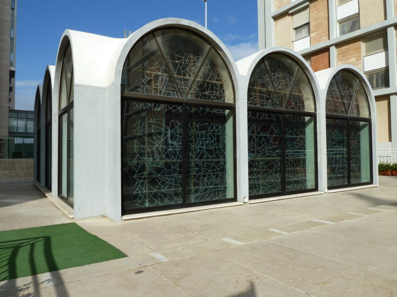 Ein-karem Synagogue of Hadassah University Hospital exterior - Chagall windows seen from outside