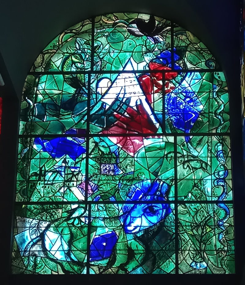 Marc Chagall – Issachar, stained glass window, installation view, Hadassah Hospital, Jerusalem, Israel
