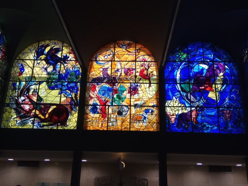 Marc Chagall – Southern view of the Hadassah Hospital, Jerusalem, Israel – Naphtali, Joseph, Benjamin, stained glass window