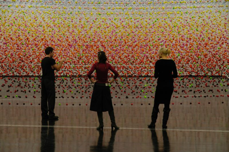 Nike Savvas - Atomic: Full of Love Full of Wonder, 2005, polystyrene, acrylic paint, nylon wire, electric fans, installation view, Australian Centre for Contemporary Art, Melbourne, 2005