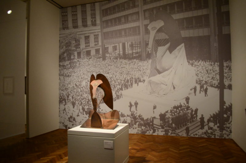 Pablo Picasso - Prototype of Chicago Picasso and an image of the unveiling of the statue, installation view, Art Institute of Chicago