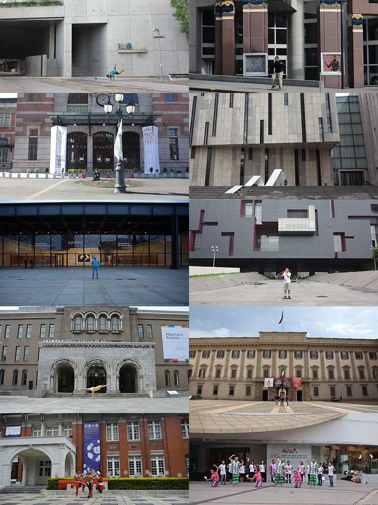 Performances in front of 36 museums on four continents