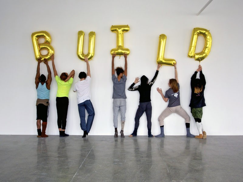 US, New Jersey - Mana Contemporary, Build, golden balloons 1