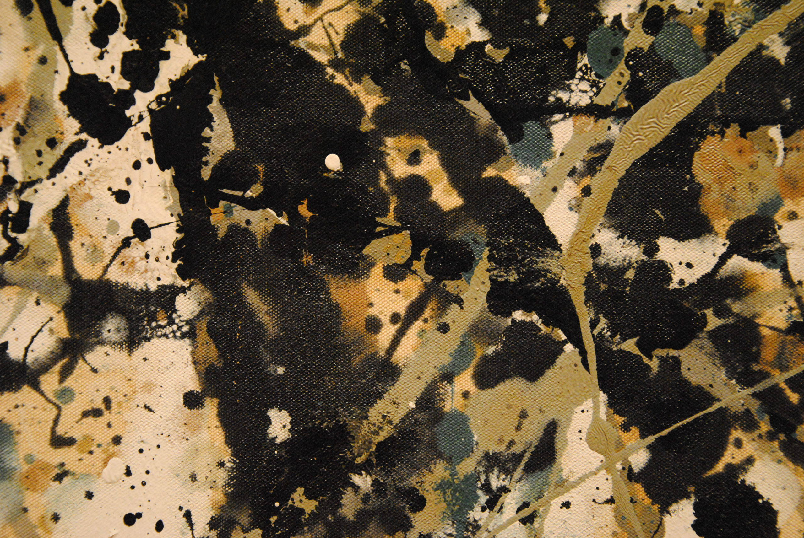 Detail of Jackson Pollock - Autumn Rhythm (Number 30), 1950, enamel on canvas, 266.7 x 525.8 cm (8 ft. 9 in. x 17 ft. 3 in.), installation view, Metropolitan Museum of Art, New York