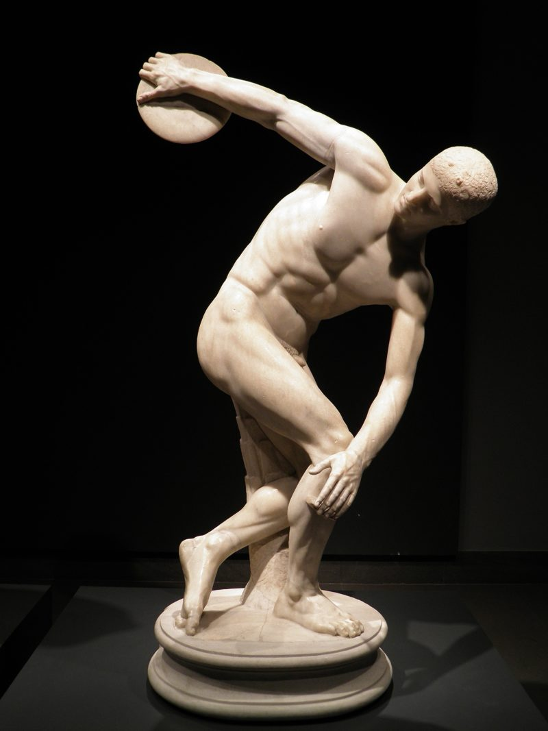 inspire our asThe Discobolus Lancellotti (Discus Thrower), Roman copy of the 5th century BC Greek statue Discobolus of Myron, installation view, Museo Nazionale Romano, Rome, Italypirations