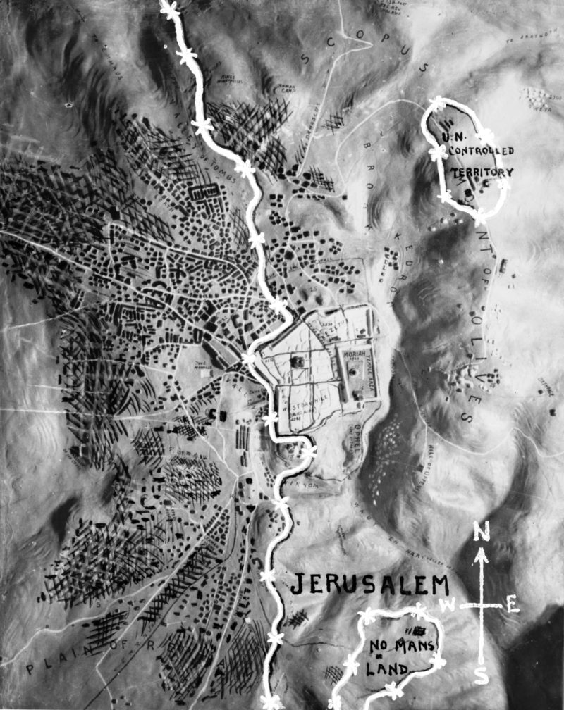 Relief map of Jerusalem with barbed wire demarcation line, 1953