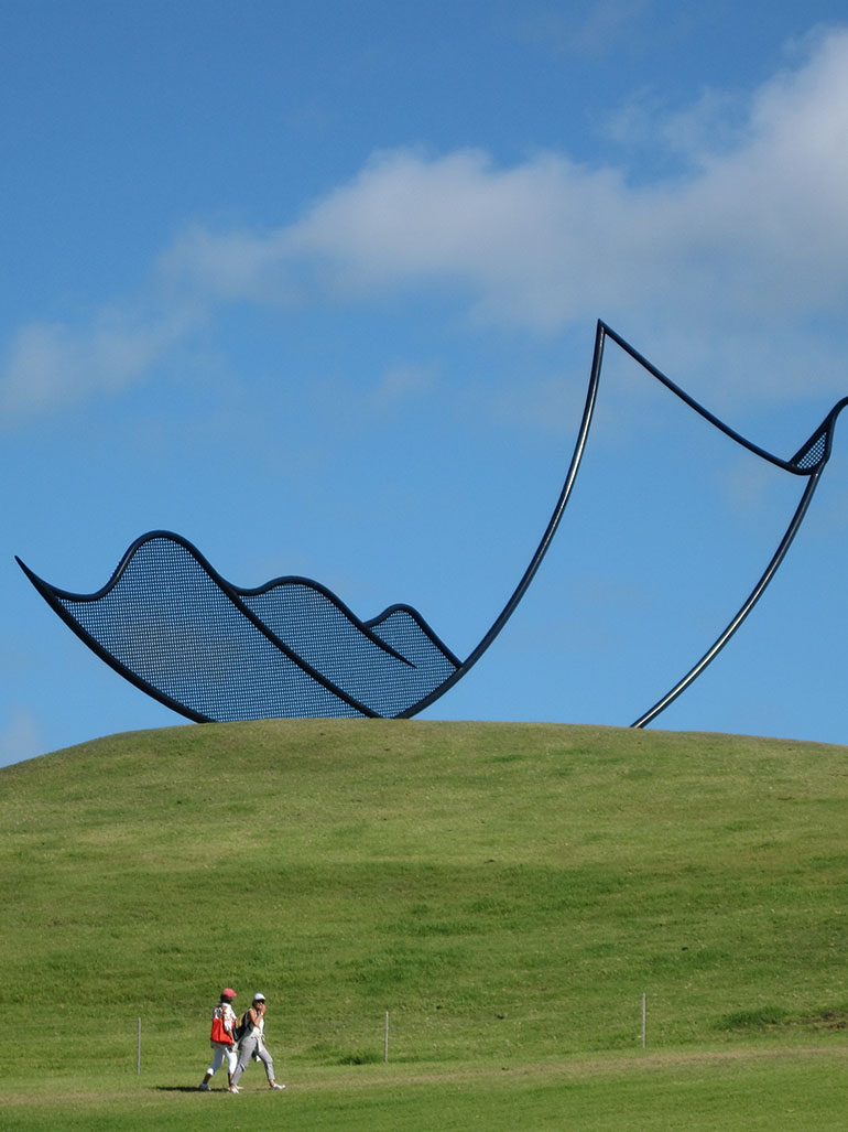 Neil Dawson - Horizons, 1994, welded and painted steel, 15 x 10 x 36m, installation view, Gibbs Farm feat
